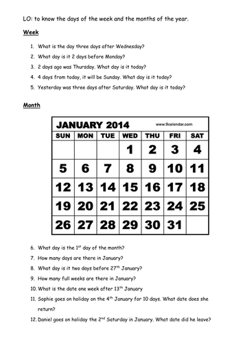 Calendar Worksheet
