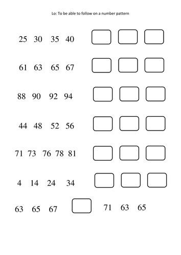number patterns worksheets differentiated by amy loupin teaching resources tes. Black Bedroom Furniture Sets. Home Design Ideas