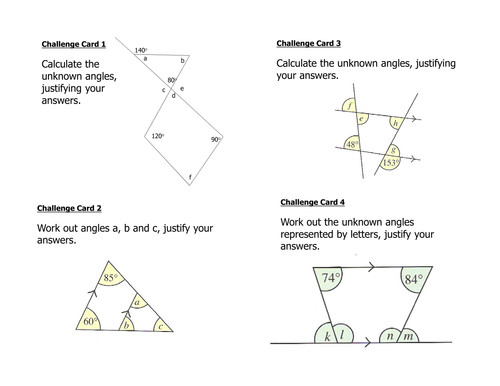 Triangle and Quadrilateral Angle Challenge Cards by JamesCMartin – Angles in Quadrilaterals Worksheet