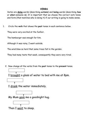 Verbs Past And Present Tense By Crfgoodman Teaching Resources Tes