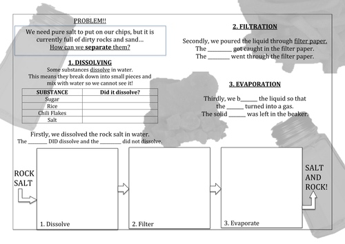 Separating Rock Salt Practical Worksheet Booklet by katielu – Separating Mixtures Worksheet
