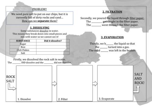 separating rock salt mixture by 71loobylou Teaching Resources TES – Separation of Mixtures Worksheet