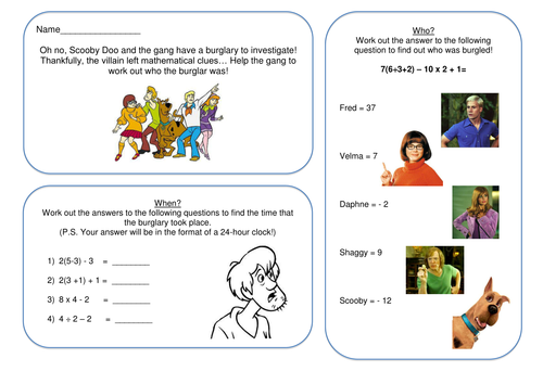 All Worksheets bodmas worksheets and answers : BIDMAS - Solve a Scooby Doo Mystery! by CaptainLoui - Teaching ...