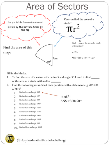 Area And Perimeter Of Sectors Worksheet By Holyheadschool