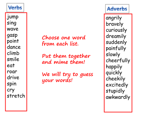 verbs and adverbs game by sarahunderwood teaching resources tes