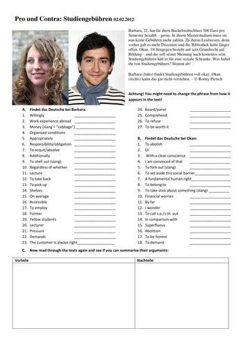 KS5 Studiengebühren pro und kontra