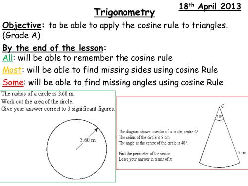 Cosine Rule Grade A Lesson
