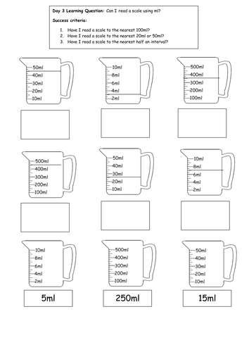 Measuring jugs with scales. by slinwood | Teaching Resources