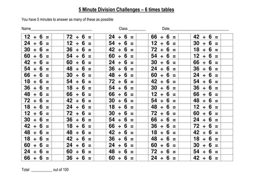 100 Question Speed Division Challenges Set 2 Of 4 By Eric