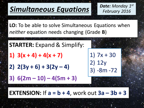 Simultaneous Equations Lesson KS4