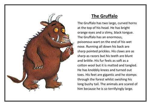 The Gruffalo Character Description Wagoll By Jase1990 Teaching