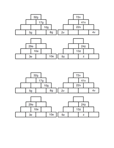 Collecting like terms pyramid worksheet by mad80 - Teaching ...