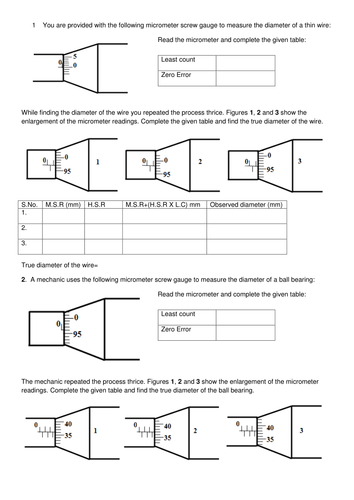 Micrometer screw gauge by DrKKNaga - Teaching Resources - Tes