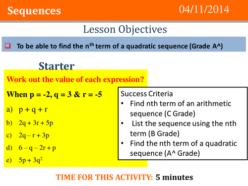 Quadratic Sequences Full Lesson by tomcosgrove | Teaching ...