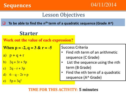 Quadratic Sequences Full Lesson