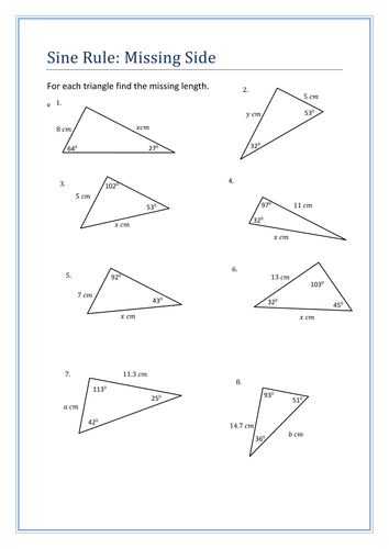 Sine Rule Questions sheet by HolyheadSchool - Teaching Resources - Tes