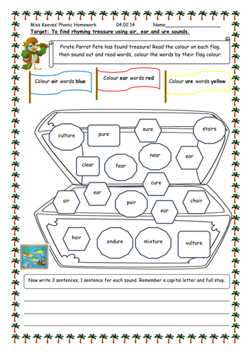 air, ear, ure worksheet by PandaPop25 - Teaching Resources - Tes