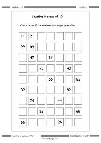 Counting in steps (4 worksheets) by Mathsright - Teaching ...