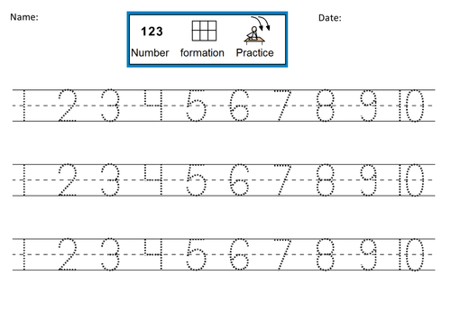 Number Formation Practice dotted 1-10