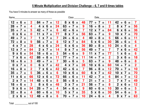 100 question multiplication division challenge 4 by eric for Multiplication table of 85