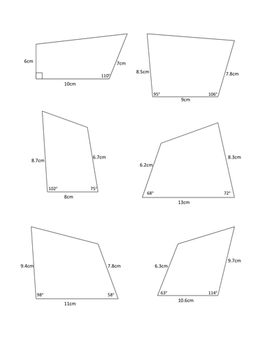 Constructing Quadrilaterals Worksheet