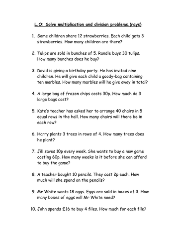 Number Names Worksheets word problems with multiplication : Multiplication and division word problems by elzbells - Teaching ...