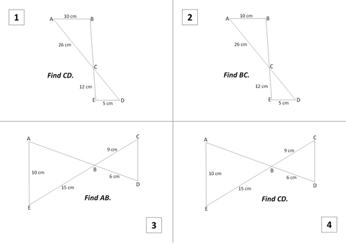 Similar Triangles Worksheet by wendysinghal - Teaching Resources - Tes
