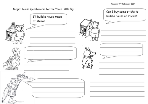 Speech Marks Three Little Pigs by joop09 Teaching Resources Tes – Three Little Pigs Worksheets