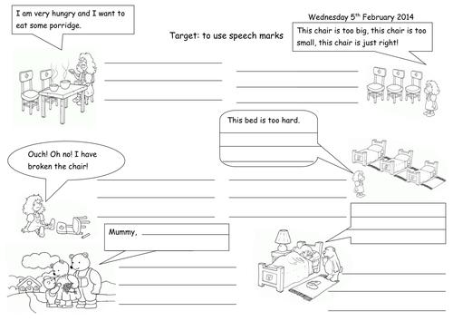 Speech Marks and Speech Bubbles Goldilocks