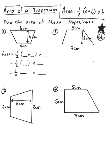 Worksheet Area Of A Trapezoid Worksheet area of a trapezoid formula worksheet delwfg com trapezium lesson by ryangoldspink teaching resources tes