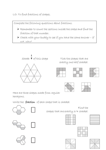 Fractions Of Shape Worksheet By Zoelarbey Teaching Resources