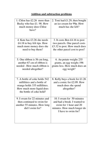 Addition and subtraction word problems by libbyminoli - Teaching ...Word problems – Addition and subtraction.docx. Extension problems.docx