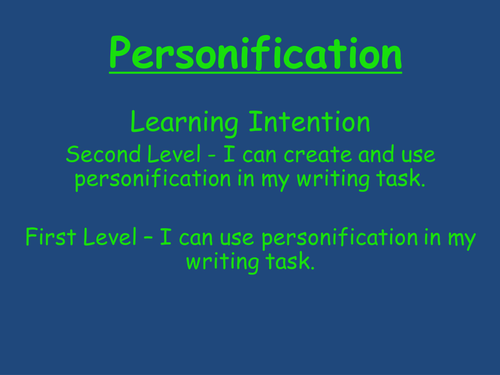 personification by mrshutchison teaching resources tes