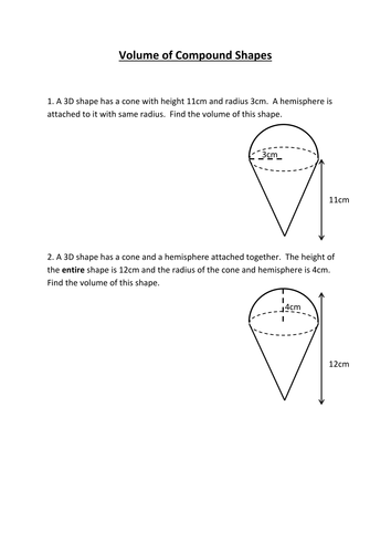Volume of compound shapes worksheet by HolyheadSchool ...