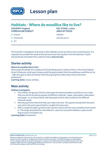 Habitats - Where do woodlice like to live?