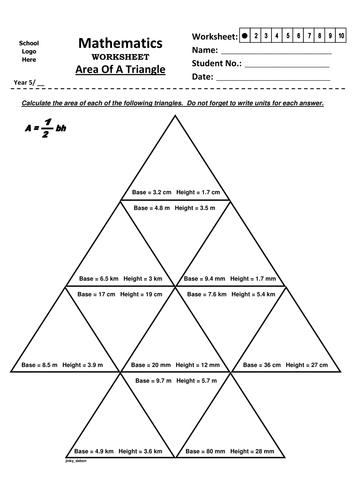 Year 5 Area Of Triangle 1 By Jinkydabon Teaching
