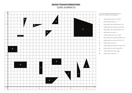 Printables Combined Transformations Worksheet mixed transformations exercise by walkerm82 teaching resources tes