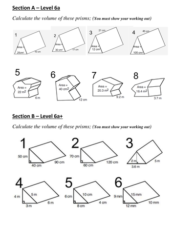 volume of prism worksheet worksheets releaseboard free printable worksheets and activities. Black Bedroom Furniture Sets. Home Design Ideas