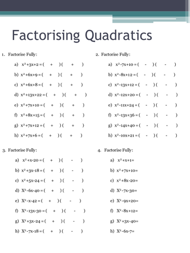 Factorising Quadratics Worksheets by HolyheadSchool - Teaching ...