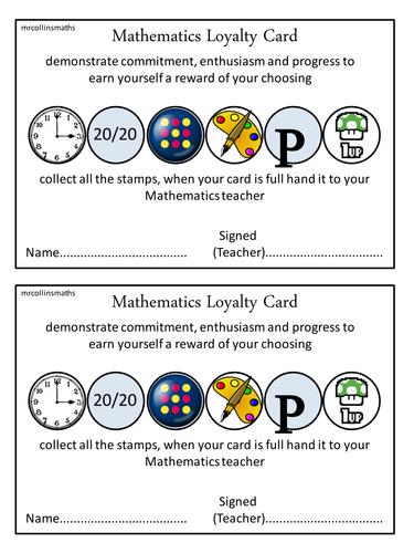 Mathematics Loyalty Cards