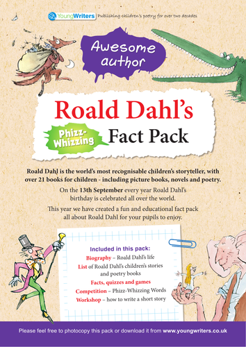 roald dahl book review template - roald dahl ks2 fact pack by youngwriters teaching