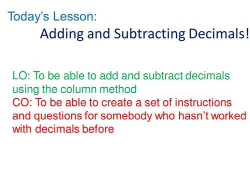 Adding and subtracting decimals by rhiannonwates - Teaching ...