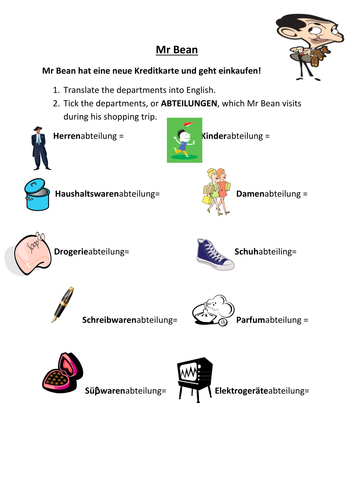 Middle school german resources clothes and fashion mr bean geht einkaufen solutioingenieria Image collections