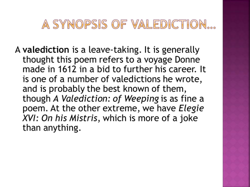 Donne - A Valediction