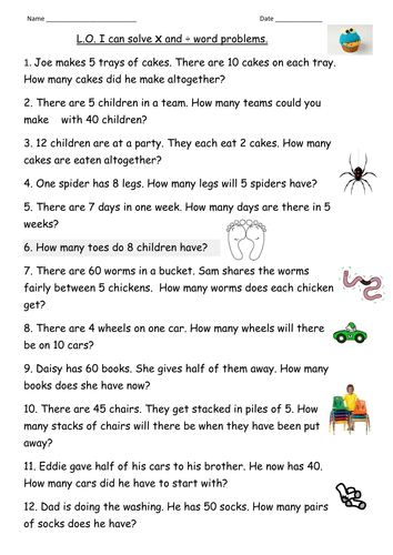 multiplication &division word problems for Year 2 by clara5 ...