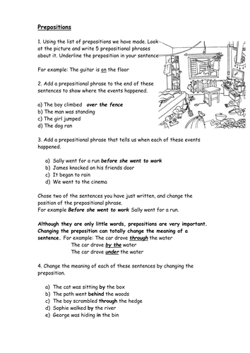 Prepositions worksheet by catrionalatham - Teaching Resources - Tes