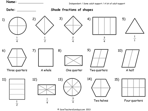 Year 2 Maths Worksheets from Save Teachers Sundays by – Fraction Shading Worksheets