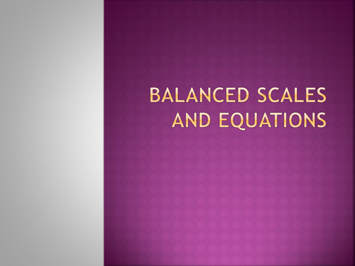 Solving equations - balanced scales