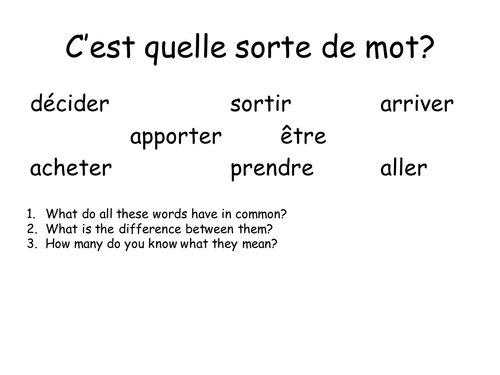 KS3/4 French reading and verb grid (tense focus)
