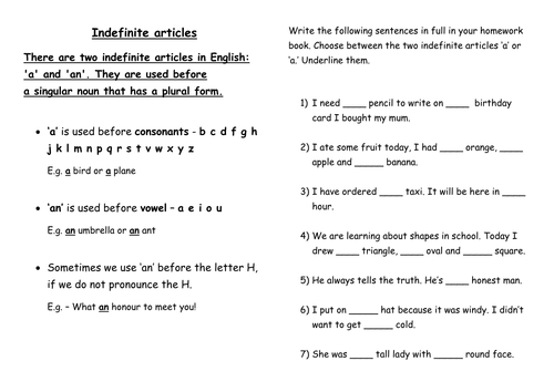 Indefinite Articles By Lwhite89 Teaching Resources Tes